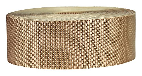 Strapworks Lightweight Polypropylene Webbing - Poly Strapping for Outdoor DIY Gear Repair, Pet Collars, Crafts - 2 Inch x 50 Yards - Khaki]()