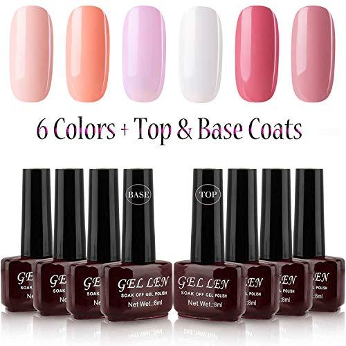 Gellen UV Gel Polish Set, Shallow Pink Peach Colors Series 6 Colors + Top Coat Base Coat - 8ml Each Home Gel Starter Kit