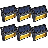 OKEER Solar Lights Outdoor New Upgrade 6 LED Outdoor Sensor Lights For Yard Garden Stairs Park Fence With Auto On/Off(Pack 6,Warm Yellow Light)