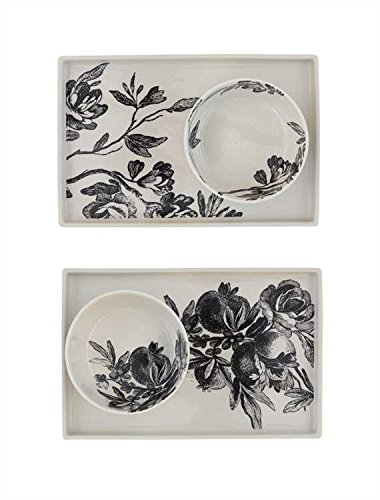 Black & White Floral Decal Stoneware Plates - 3 Sets of 2 by Heart of America