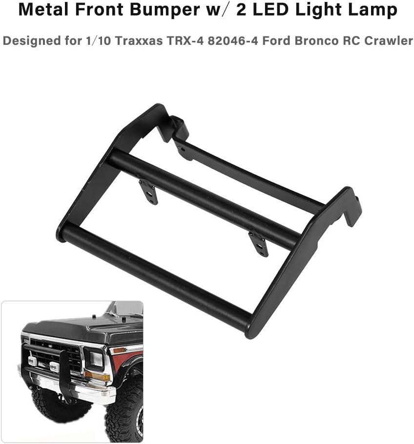 Benkeg Frontsto/ßstange aus Metall mit 2 LED-Leuchten f/ür 1//10 Traxxas TRX-4 82046-4 Ford Bronco RC Crawler Car