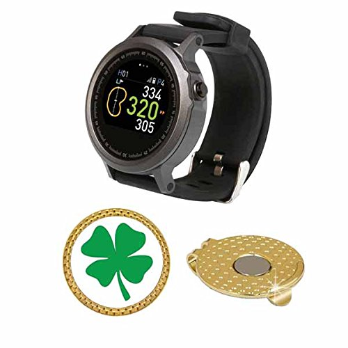 GolfBuddy WTX Golf GPS/Rangefinder Smart Watch (40k+ Preloaded Worldwide Courses) Bundle with Magnetic Hat Clip Ball Marker (Four Leaf Clover)