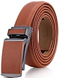 Marino Avenue Men's Genuine Leather Ratchet Dress Belt with Linxx Buckle, Enclosed in an Elegant Gift Box - Tan - Style 166 - Adjustable from 28