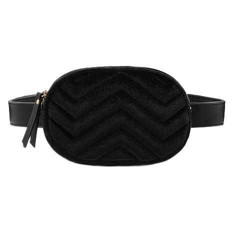 66b5360209 CRAZYCHIC - Borsa Ovale Marsupio Cintura Donna - Waist Pack Fanny Pack  Cellulare - Velluto PU