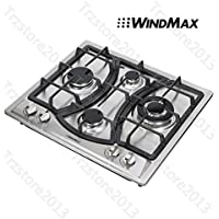 Windmax 23 Kitchen Curve 4 Burners Cooker Stainless Steel LPG Gas Hob Cooktop#46013