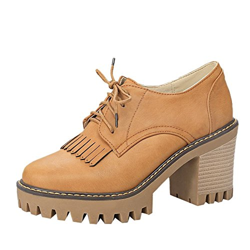 Carolbar Womens Lace-Up Retro Fashion Platform High Heel Oxfords Shoes Yellow nlB91MOr0d