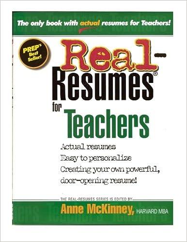 RealResumes for Teachers Anne McKinney 9781475094008 Amazoncom