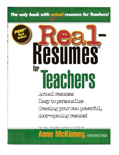 Real resumes for teachers anne mckinney 9781475094008 amazon real resumes for teachers anne mckinney 9781475094008 amazon books altavistaventures Images