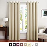 Vangao Room Darkening Thermal Insulated Blackout Curtains Solid Grommet Top Window Draperies/Drapes/panels for Bedroom/Living Room Set of 1 Beige Curtains 52x95 Inch