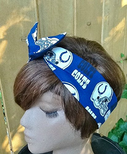 Indianapolis Colts Wired Dolly Bow Wire Headband Rockabilly Wire Scarf - Bandana ()