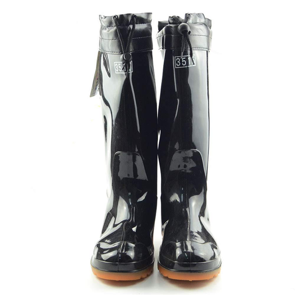 Mens Flat Low-Heeled Round Toe Shoes Waterproof Middle Tube Rain Boots