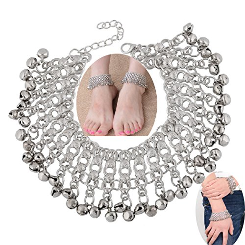 SUNSCSC 1 Pair Vintage Silver Bell Chain Bangle Bracelets Ankle Anklets For Women