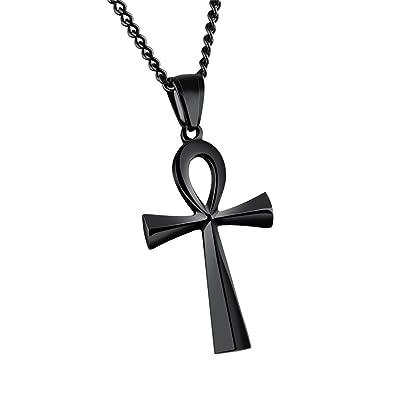 58b26d178b85 HIJONES Hombre Ujer Acero Inoxidable Simple Vintage Egipcio Ankh Cruz  Colgante Collar Negro  Amazon.es  Joyería