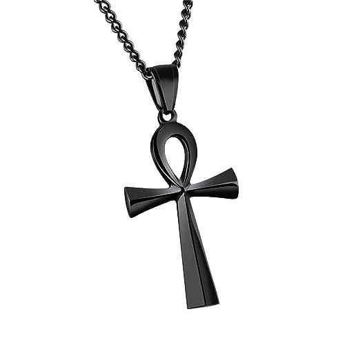 HIJONES Hombre Ujer Acero Inoxidable Simple Vintage Egipcio Ankh Cruz Colgante Collar Negro/Oro/Plata