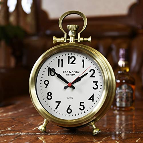 Family Fireplace Watches Retro Pocket Watch Table Clock, Platform Clock with í bat Suitable for Bedroom Office Living Room (Color: Bronze, Tama ñ or: 32x23x8cm) (Bronze Chimenea)