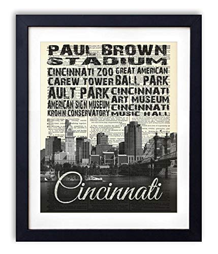 - Cincinnati Skyline With Landmarks Typography (#2) Upcycled Vintage Dictionary Art Print 8x10