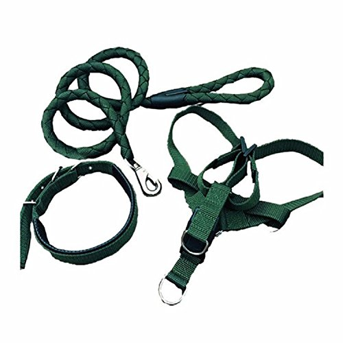 Baolai Wode Dog Collar Harness and Leash Set with High Density Nylon for Medium Dogs Dark Green