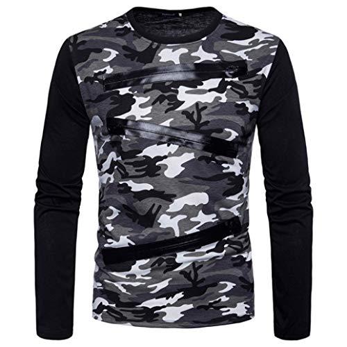 Zipper Camouflage Costumes Hommes Adeshop Sweatshirt Rond Occasionnels À Casual Taille 2xl Blanc Mode Chemisier Longues Col Top M Manches Grande Sport Patchwork Automne qtqAXx
