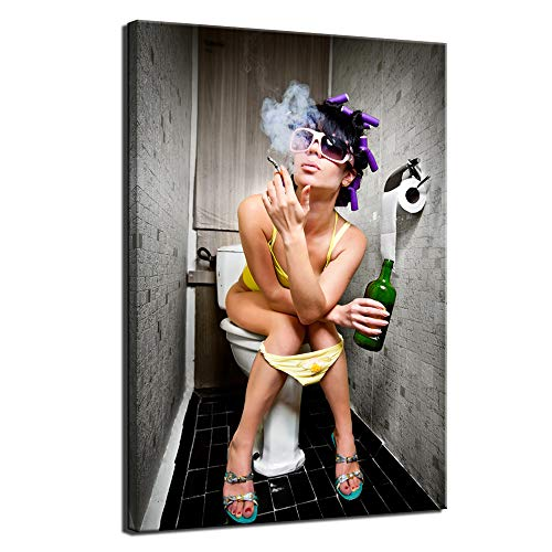 sechars – Fashion Toilet Woman Canvas Print Modern Bar Girl Smoking and Drinking in Restroom Painting Picture Poster Framed for Bedroom Hotel Wall Decoration -24x36inches