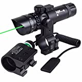 Gun Scope Green Dot Laser Sight Rifle Gun Scope w/Rail & Barrel Mount Cap Pressure Switch Battery Charger Include
