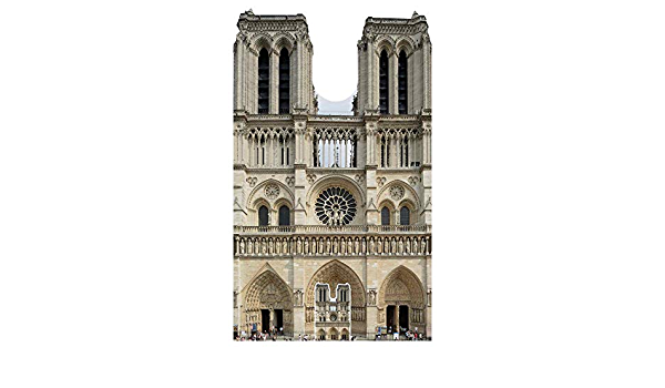 Multi-Colour Star Cutouts Ltd SC1358 Large Cutout of Notre Dame French Cathedral 173cm Tall 103cm Wide Comes with Free Desktop Cardboard Standee