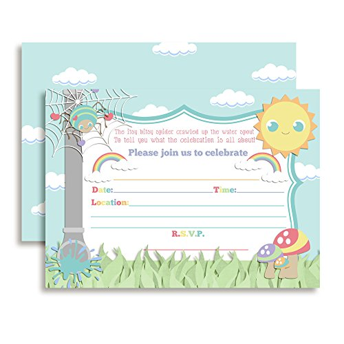 Amanda Creation Itsy Bitsy Spider Themed Birthday Party Fill in Invitations Set of 20 with envelopes]()