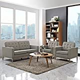 Modern Contemporary Urban Design Living Lounge Room Sofa Set ( Set of Three), Grey Gray, Fabric