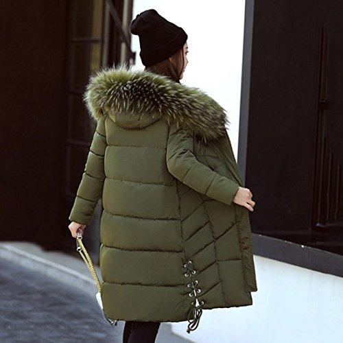 Invierno Mujer Abrigo Ejercito Caliente Escudo Algodón Grueso WINWINTOM de Delgada Moda Parka Largo y Verde BPwqg1gxt5