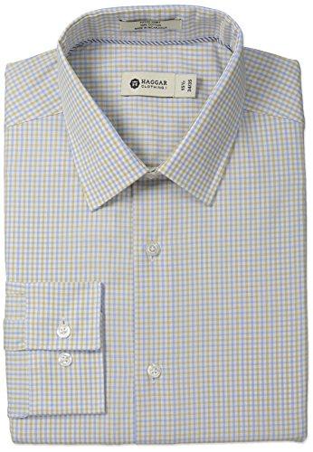 Mini Point Collar Dress Shirt (Haggar Men's Mini Gingham Check Point Collar Regular Fit Long Sleeve Dress Shirt, Khaki, 18.5x36/37)
