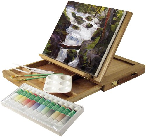 Price comparison product image Art Advantage Wood Art Box Easel Paint Set