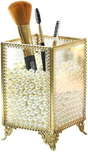 レトロガラスの化粧品収納ボックスメイクブラシアイブローブラシでバケツヨーロッパのメイクブラシ貯蔵管ボックス(真珠を送信)