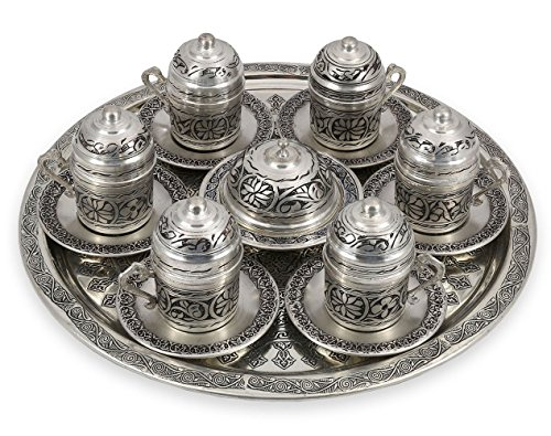 Traditional Design Handmade Copper Turkish Arabic Armenian Greek Coffee Set Espresso Set Tea Set for Six-(CS6-107)