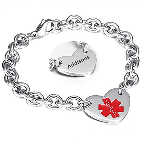 (LF 316L Stainless Steel Addisons Engraved Medical Alert Heart Charm Link Bracelet Rolo Chain Medic ID Bracelets Monitoring Awareness for Womens for Outdoor Emergency )