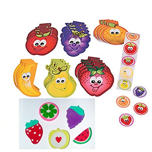 148 Piece ~ Fun Fruits Stationery Set ~ 24 Notepads / 24 Erasers / 100 Stickers ~ New 148 Piece Set