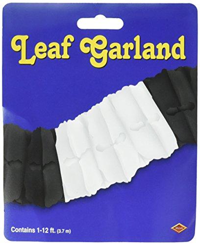 Beistle 55628-BKW Packaged Leaf Garland, 4-1/2-Inch by (12 White Tissue)