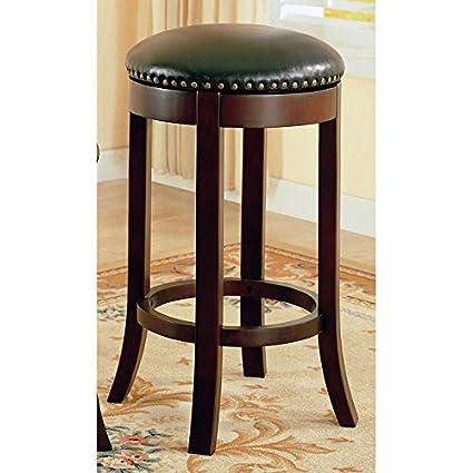 Amazoncom Coaster Furniture Walnut Backless 29 Inch Barstool Set
