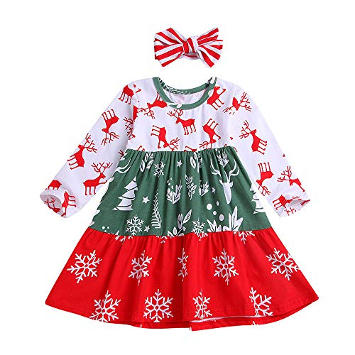 Gallity Hot Sale! Kids Baby Girls Christmas Gifts Xmas Princess Dress Snowflake Print Party Dresses Headband Outfits Clothes (3-4 Years, White)