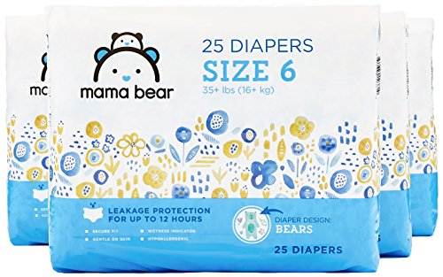 (Amazon Brand - Mama Bear Diapers Size 6, 100 Count, Bears Print (4 packs of 25) )