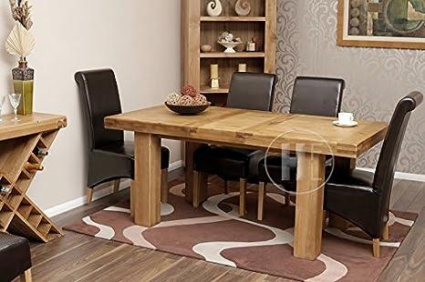 Mesa de comedor rústica extensible y 6 sillas de roble ...