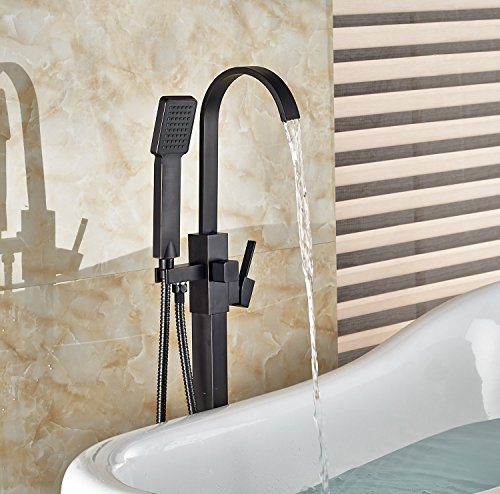 Votamuta New Floor Mount Single Handle Bathtub Mixer Faucet Free Standing with Handheld Shower Tub (Floor Mount Bathtub Faucet)