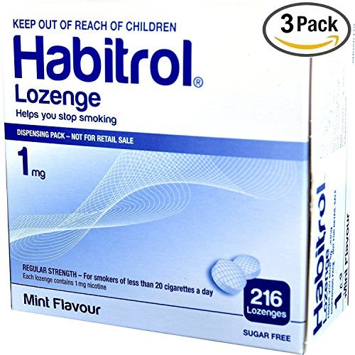 Habitrol Nicotine Lozenge 1mg Mint Flavor. 3 packs of 216 Lozenges (total 648)