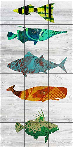 Fish Art Tile Mural Backsplash - Five Fish on White by Elizabeth St Hilaire Ceramic Kitchen Shower Bathroom (18