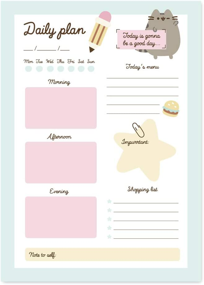 Grupo Erik Pusheen Foodie Collection Official - A5 Desk Pad with Daily, Weekly and Monthly Calendar, BNE0023