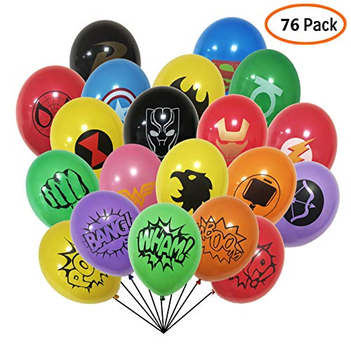 Superhero Party Supplies 76 Pack Superhero Balloons 12