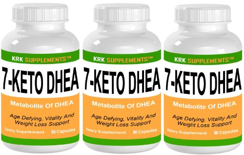 3 Bouteilles 7-Keto DHEA 100mg 270 Capsules Suppléments totale KRK