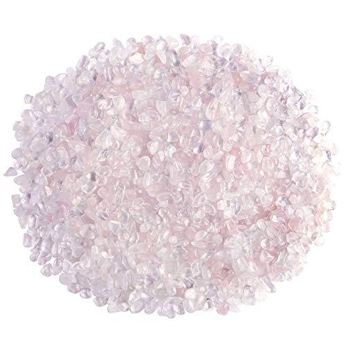 (Top Plaza Natural Rose Quartz Tumbled Chips Crushed Stones Reiki Healing Quartz Crystals Irregular Shaped Gemstones 0.45lb)