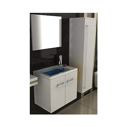 Armadio Per Bagno.Set Di Mobili Da Bagno Lavabo Bianco Lucido Design Lavabo