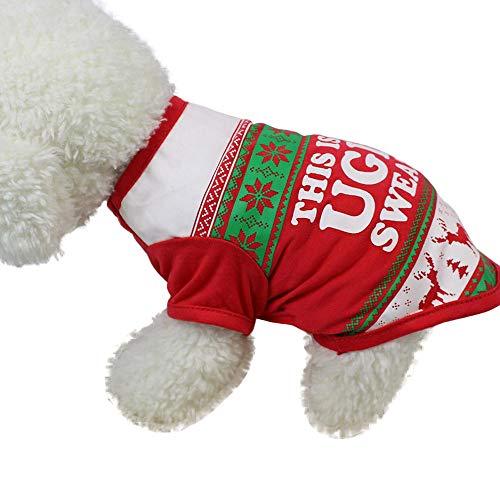 Duseedik Pet Clothes, Christmas Cute Dog T Shirt Pet Clothes Apparel Vests Costumes Clothing