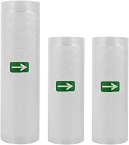 """Food Vacuum Sealers Bags 3 Rolls Thicker Textured Vacuum for Food Saver Work with Sous Vide and Food Saver Vacuum Sealer (11"""" x 16.4' /8.6 x 16.4')"""