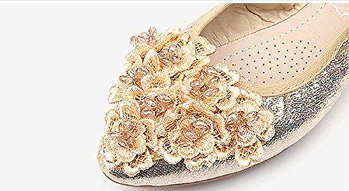 Opsun Gold 2 Size UK Flats Women's Ballet 6wtAHr6